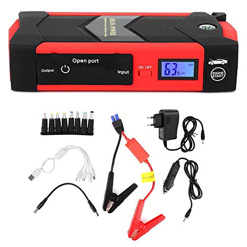 Starthilfegeräte Autostart 12V 26000Mah Multifunktions Digitalanzeige Smart Jump Starter Notstrom-Ladegerät-Kit Rot 110V-240V(EU-Stecker)