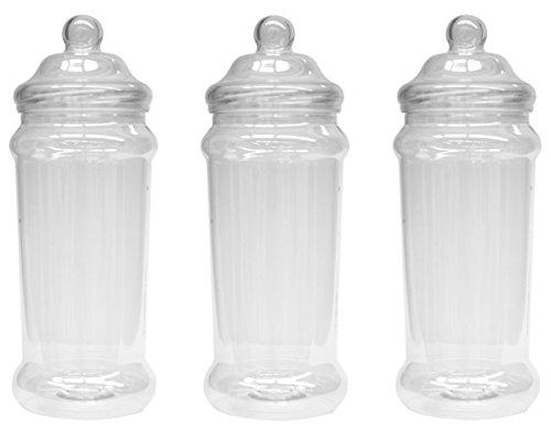 3Tall y Slim cocina pasta botes de almacenamiento con tapas superiores Victorian tornillo por Britten & James®. Cristal transparente de plástico alimentos–seguro, higiénico y atractivo.