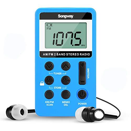 Songway Radio Pequeña Portatil, Mini Radio de Bolsillo Pocket Am FM 2 Bandas de Radio Estéreo DSP Digital Tuning Receptor con Pantalla LCD USB Recargable y Auricular para Caminar (Blue)