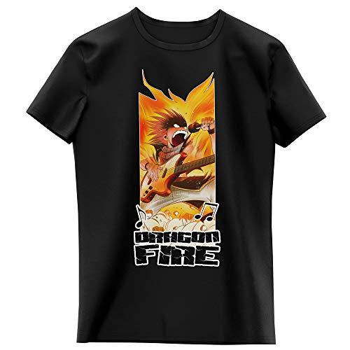 Okiwoki T-Shirt Enfant Fille Noir Parodie Fairy Tail - Natsu - Dragon Fire !!! (T-Shirt Enfant de qualité Premium de Taille 9-10 Ans - imprimé en France)