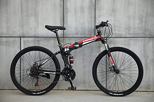 AUTOKS Jeu de Sport Pliable/VTT 24/26 Pouces, Noir et Rouge