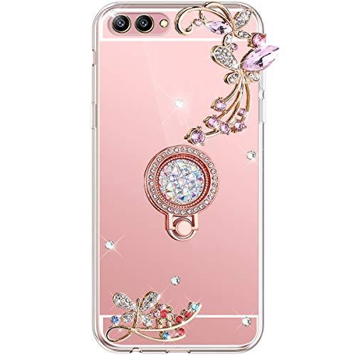 Herbests Kompatibel mit Huawei Honor View 10 Hülle Glänzend Diamant Kristall Strass Glitzer Spiegel Schmetterling Blumen Handyhülle Silikon Schutzhülle Case mit Handy Fingerhalterung,Rose Gold
