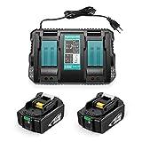 Firstpowe 5.0 Ah 18 V Zwei Ersatzbatterien für Makita BL1860B, BL1860, BL1850, BL1845, BL1840B, BL1840, BL1835, BL1830B, BL1830 mit 1X Ladegerät
