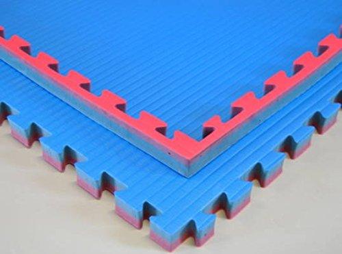 Wendematte, blau/rot, 1 x 1 Meter, ca. 4 cm dick, Puzzlematte/Steckmatte/Bodenmatte/Sportmatte/Spielteppich/Unterlegmatte/Kampfsportmatte/Turnmatte
