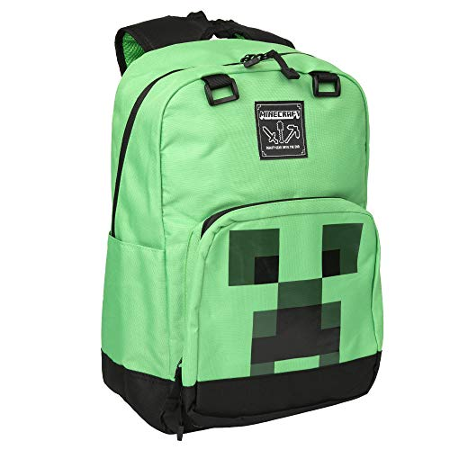 JINX Minecraft Creeper Creepin' Up Kids School Backpack, Green, 17""