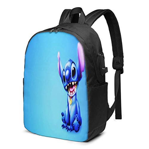 Fashion Leisure Backpack For Girls And Boys, Large Laptop Backpack, Waterproof Business Carry On Backpack For Men And Women, Water Bottle Pockets Daypack,Disney Lilo Stitch Blue Smile