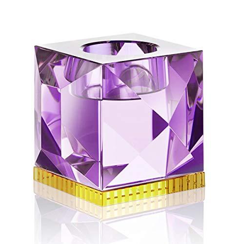 Reflections Copenhagen - Ophelia - Teelichtständer, Kerzenleuchter, Kerzenständer - Kristallglas - Violett, Gelb - (LxBxH): 9 x 9 x 7,8 cm