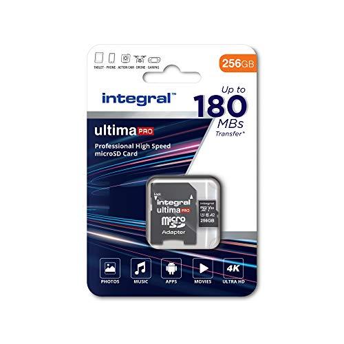 Tarjeta de Memoria UltimaPro de 256 GB microSDxC de Alta Velocidad de hasta 180 MB/s de Lectura, 130 MB/s de Escritura, Clase 10, V30, UHS1, U3, homologada A2, Adaptador SD, by Integral Memory