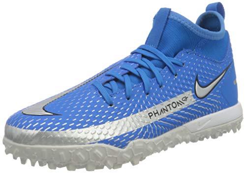 Nike Unisex Jr. Phantom Gt Academy Dynamic Fit Tf Fußballschuhe, Photo Blue Metallic Silver Rage Green Black, 38 EU