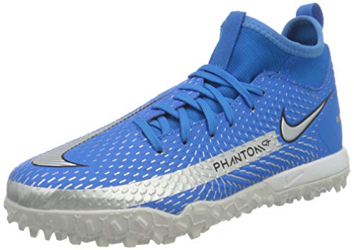 Nike JR Phantom GT Academy DF TF, Zapatillas de ftbol, Photo Blue Mtlc Silver Rage Green Black, 38 EU