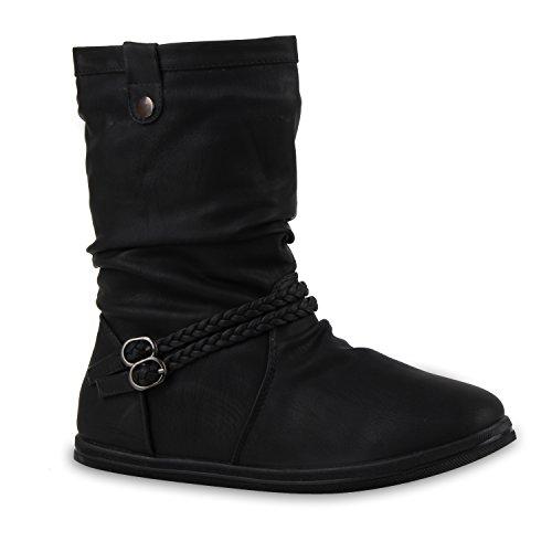 Bequeme Damen Stiefel Schlupfstiefel Lochungen Flache Boots Leder-Optik Metallic Schuhe 128457 Schwarz Schwarz Autol 36 Flandell