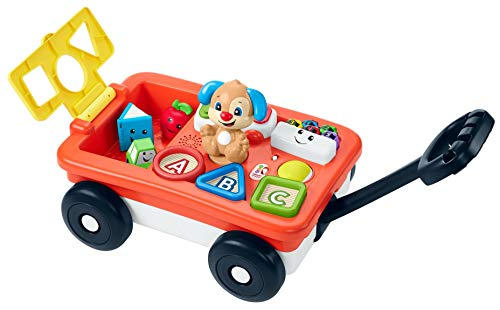 Fisher-Price Laugh & Learn Pull & Play Learning Wagon, pull-toy wagon with music, lights, and learning songs for babies & toddlers ages 6-36 months [Amazon Exclusive]