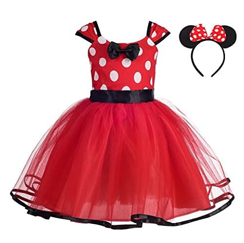 Lito Angels Deguisement Robe Princesse Minnie Enfant Fille, Anniversaire Fete Halloween Carnaval, avec Oreilles de Souris Serre-Tete, Taille 3-4 ans, Pois Rouge (étiquette en tissu 110)