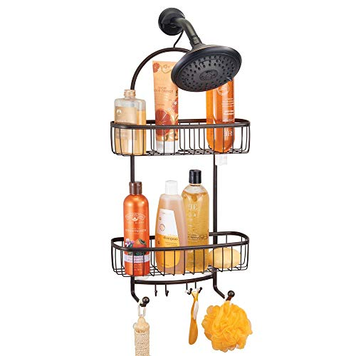 mDesign Bathroom Tub & Shower Caddy, Hanging Storage Organizer Center with 2 Built-in Hooks and Baskets for Bathroom Shower Stalls, Bathtubs - Rust Resistant Steel Wire, Bronze