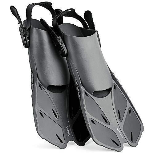 CAPAS Snorkel Fins, Swim Fins Travel Size Short Adjustable for Snorkeling Diving Adult Men Women Kids Open Heel Swimming Flippers