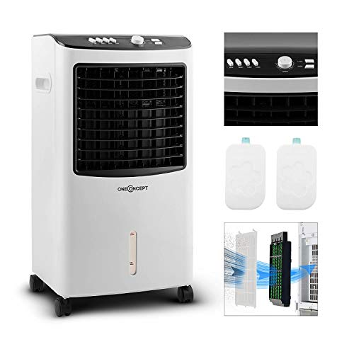 oneConcept MCH-2 V2-3-in-1 mobiles Klimagerät: Luftkühler, Ventilator & Luftbefeuchter, 7 Liter Wassertank, 360 m³/h, 65 Watt, horizontale Oszillation, Bodenrollen, Timer, zwei Kühlakkus, antikweiß