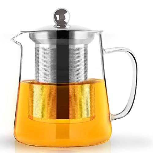 Teapot, 700ml glass tea pot with Infuser, Microwavable and Stovetop Safe, Tea Strainer for Loose Leaf Tea and Blooming Tea
