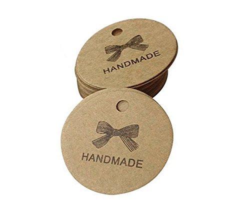 Qingsun 100 PCS Handmade Printed Kraft Paper Wedding Brown Rectangle Craft Hang Tags Home Soap Baking Kraft Paper Hang Card(Hemp Rope Not Include)