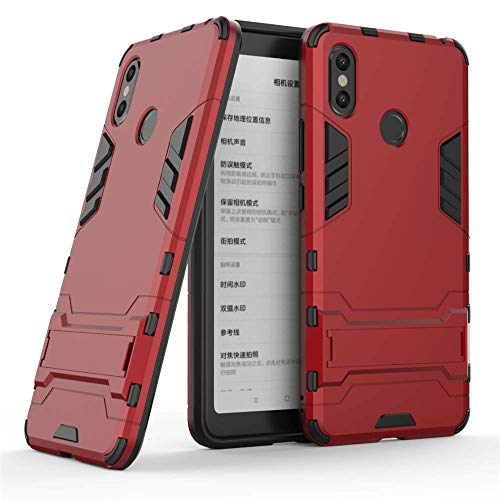 Chest Xiaomi Mi Max 3 Case, 2 in 1 Armor Style Durable Hybrid Dual Layer Armor Defender PC + TPU Cases Case Cover with Stand [Shockproof Case] ​​for Xiaomi Mi Max 3 -Red