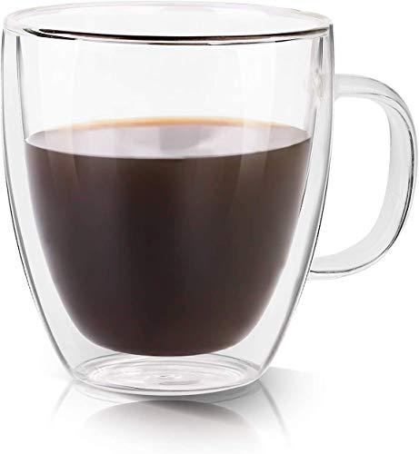 Growom Glass Coffee Mug, Double Walled Espresso Cup, Double Wall Insulated...