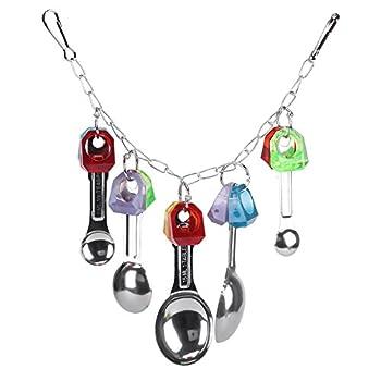 Fdit Jouet à Mâcher Oiseaux Perroquet avec Cuillères métal Coloré Suspendu Jouet Inséparables Cage pour Perroquets Perruche Animaux