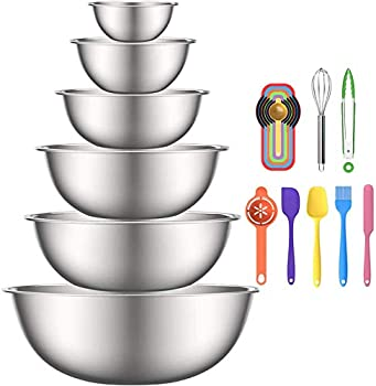 Stainless Steel Mixing Bowls 6pcs Metal Bowls Set by AIKKIL Nesting Bowls for Space Saving Storage Easy To Clean Great for Serving Cooking Baking Prepping
