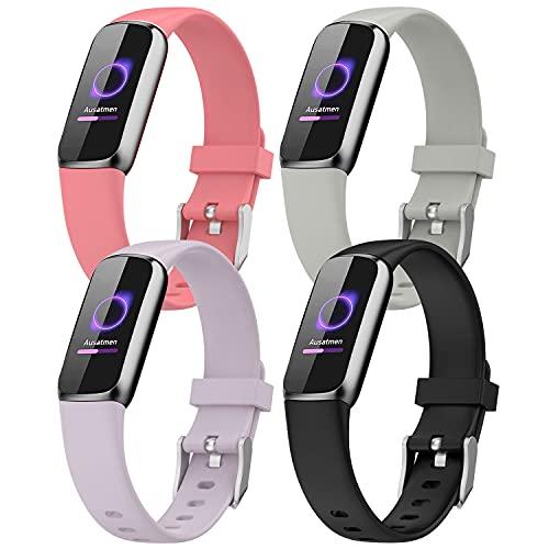 YABZOZ Cinturino Compatibile con Fitbit Luxe, Cinturino Traspirante in Silicone Impermeabile per Fitbit Luxe (S (5.5'-7.1'), Nero, Rosso, Grigio, Lavanda)