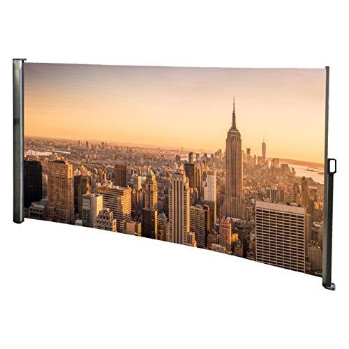 RABURG Seitenmarkise mit Foto Skyline New York Links - Windschutz/Sichtschutz/Seitenrollo 160 x 300 cm