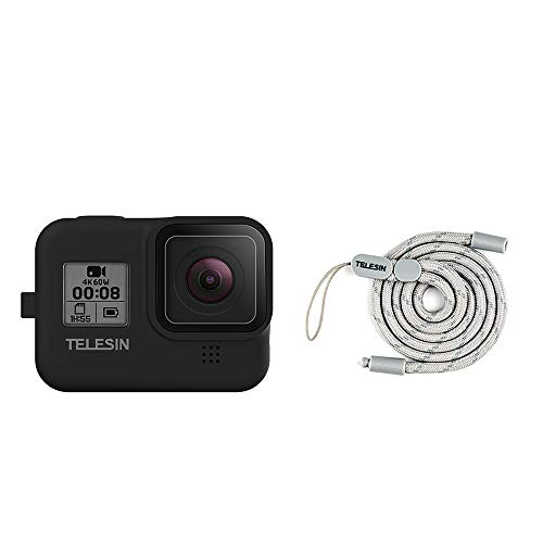 TELESIN Silikon Tasche für GoPro Hero 8 Black,Hero 8 Mantel und Kordel (Schwarz)
