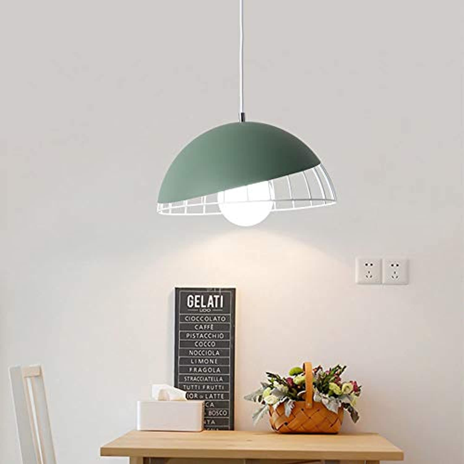 YAYONG Chandelier Restaurant Modern Minimalist Nordic Creative Table Lampe Runde LED Macaron Pendant Light Grün
