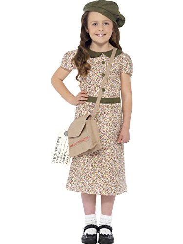 Smiffys Evacuee Girl Costume, Patterned, with Dress, Satchel, ID Tag & Beret, Large