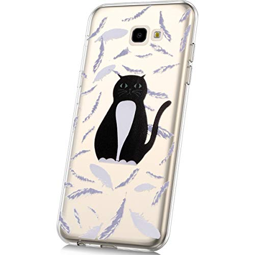 JAWSEU Compatible avec Samsung Galaxy J4 Plus 2018 Coque Transparente Silicone Housse de Protection Slim Souple TPU Cristal Clair Antichoc Bumper Case Mode Belle Lovely Motif,Chat