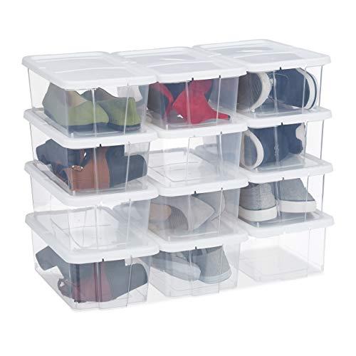 Relaxdays Schuhboxen Kunststoff, 12er Set, stapelbar, durchsichtige Aufbewahrungsboxen mit Deckel, 12,5x20x34,5cm, weiß