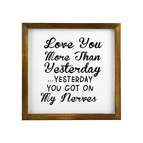 Generic Brands Best Gifts Funny Warm Sweet Sayings Love You More Than Y Rustic Wood Framed Home Signs Hanging Farmhouse Wall Art Décor Home, Kitchen, Bathroom 12x12 inch