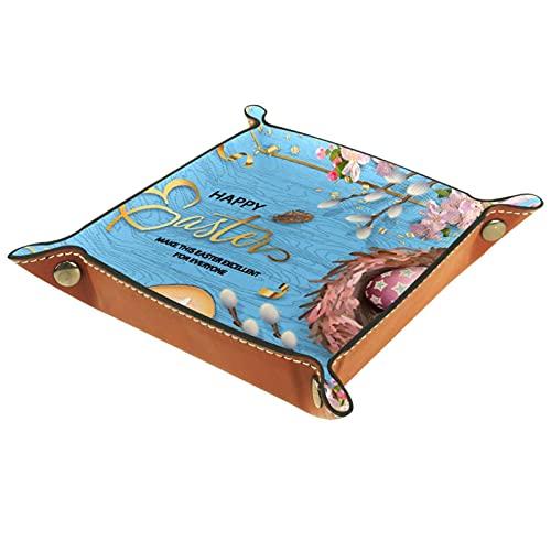 Faltbare Würfelspiele Tablett Leder Quadratische Schmucktabletts und Uhr, Schlüssel, Münze, Süßigkeiten Aufbewahrungsbox Frohe Ostern Vogelhaus Blühende Zweige
