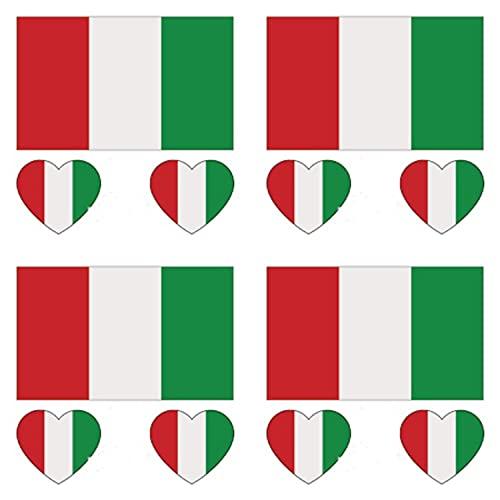 GUGUBU Pack of 4 Italy Sticker Temporary Body Tattoo Flag Italian National Flags Euros World Cup Football Fans Music Festival Heart