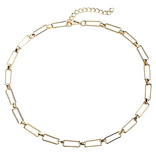 LKHJ Collar, Collar Cuadrado Europeo, Cadena de Metal Simple exagerada, Collar Popular con Personalidad para Mujer