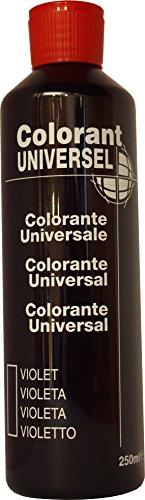 Violet Colorant Universel Concentré 250 ml pour toutes peintures décoratives et bâtiment. Grande compatibilité aussi bien en milieux solvant et aqueux. Convient également à la coloration des enduits , plâtres , et résines. Grande facililté de dosage grâce à son bouchon compte goutte