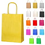 Thepaperbagstore 20 Small Paper Party Bags, Gift and Sweet Bags with Twist Handles - Yellow - 180x220x80mm