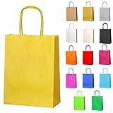 Thepaperbagstore 20 Bolsas De Papel para Fiestas Y Regalos, con Asas Retorcidas - Amarillo - 180x220x80mm