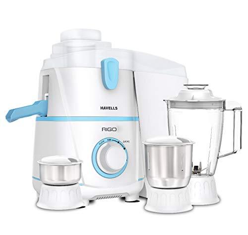 Havells Rigo 500 Watt Juicer Mixer Grinder with 3 Jar (White & Light Blue)