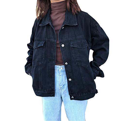 NZJK Vriendje Losse Zwarte Denim Jas Vrouwen Jas Lente Herfst Casual Oversized Jeans Jas Dames Kleding Veste Femme