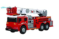 This amazing detailed firetruck comes with a ton of cool features including realistic effects plus a fire hose that can really squirt out water! A small reservoir holds just enough water to impress kids, but not enough to make a mess! Packed with coo...