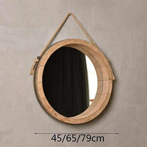 ZHTY Espejo de baño de Pared Redonda Espejo Colgante Espejo de vanidad montado en la Pared Círculo Espejo de Maquillaje Marco de Madera con Cuerda de cáñamo Colgante