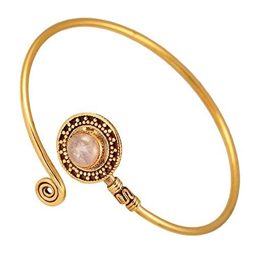 Chic-Net Messing Armreif antik golden Mondstein weiß grau Spirale verstellbar antik Tribal Schmuck