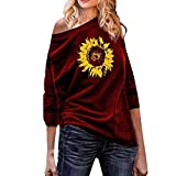 ZYooh Womens Letter Printed Pullover Tops Casual Loose Fit Sweatshirts Long Sleeve Skew Neck Tunic Blouse(Purple,M)