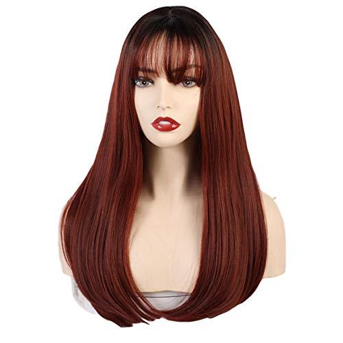 Kongqiabona-UK Peluca de Mujer Negro Gradiente Vino Rojo Fibra química Cabello 20 Pulgadas Realidad simulada Cuero cabelludo Volumen Peluca Puede soplar Peluca
