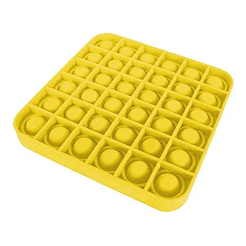 Juguete para apretar Juguetes de descompresión Push Pop Bubble Toys Autismo Necesidades especiales Alivio del estrés Ayuda a aliviar el estrés y aumentar el enfoque Soft Squeeze Toy SquareYellow