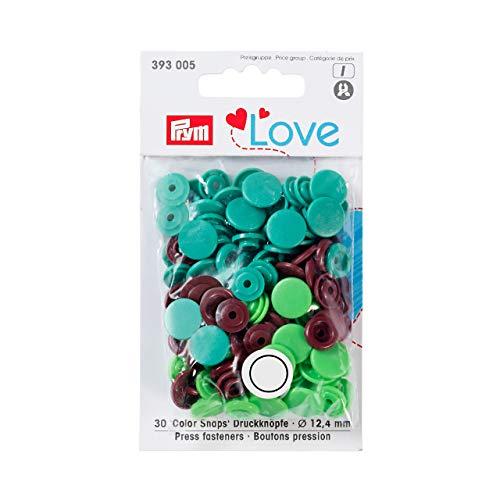 Prym 393005  Love Druckknopf  Color KST 12,4 mm grün/hellgrün/braun, Polyester, 12.4 m