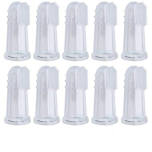 Siming, spazzolini da dito in silicone per la pulizia dei denti di cani e gatti, confezione da 10